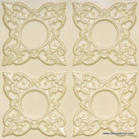 133 Cream Pearl Faux Tin Ceiling Tile