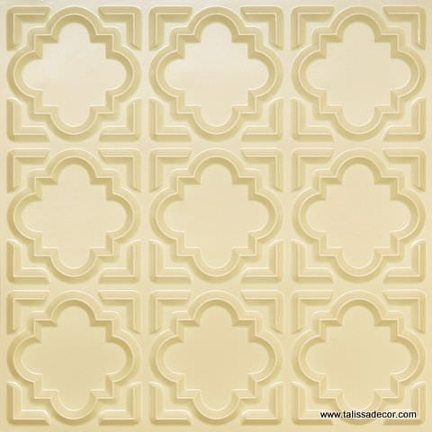 142 Cream Glossy Faux Tin Ceiling Tile