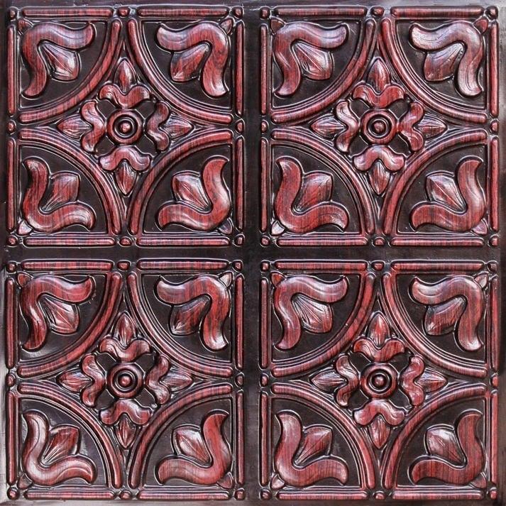 148 Antique Rosewood Faux Tin Ceiling Tile