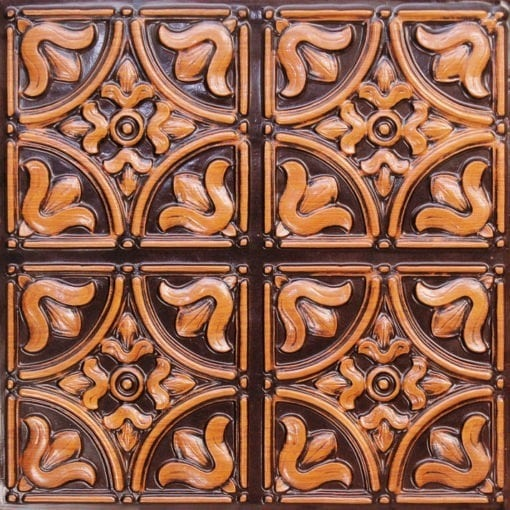148 Antique Teakwood Faux Tin Ceiling Tile
