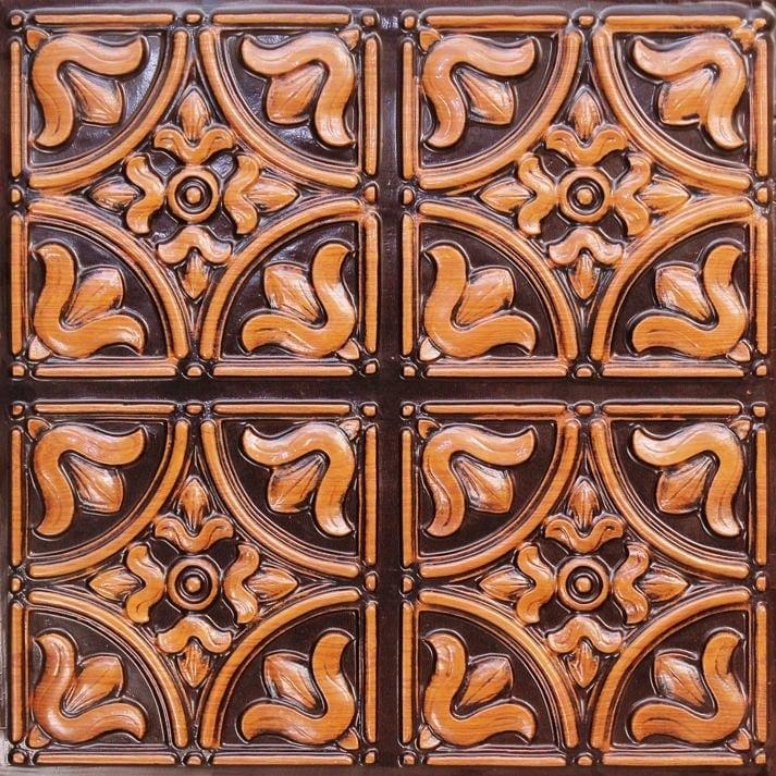 148 Antique Teakwood Faux Tin Ceiling Tile