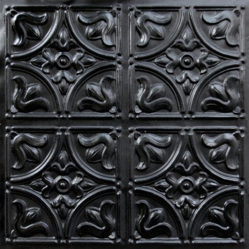 148 Black Glossy  Faux Tin Ceiling Tile