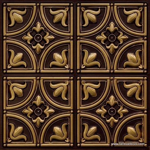 148 Antique Brass Faux Tin Ceiling Tile