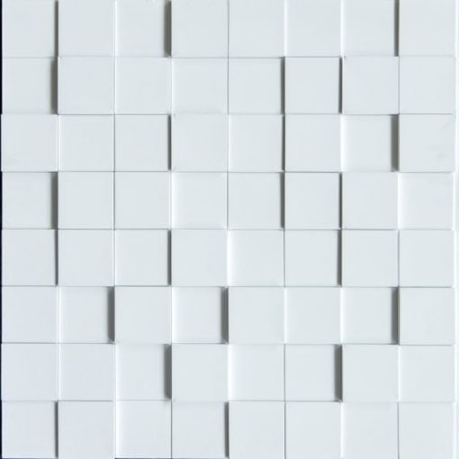 3D Thermoplastic wall panel - Harmony Cube - White Matte