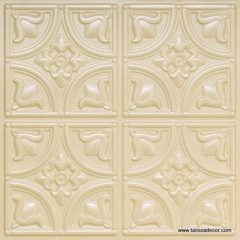 148 Cream Pearl Faux Tin Ceiling Tile