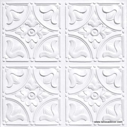 148 White Pearl Faux Tin Ceiling Tile