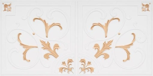 8204  Faux Tin Ceiling Tiles - White Matte-Gold