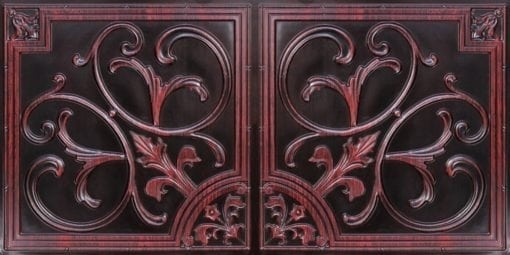 8204  Faux Tin Ceiling Tiles - Antique Rosewood