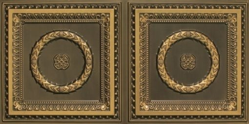 8210 Faux Tin Ceiling Tile - Antique Brass