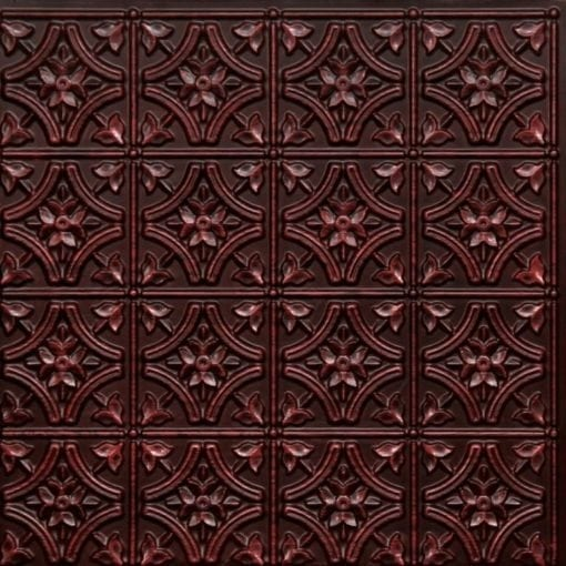 150 Antique Rosewood Faux Tin Ceiling Tile