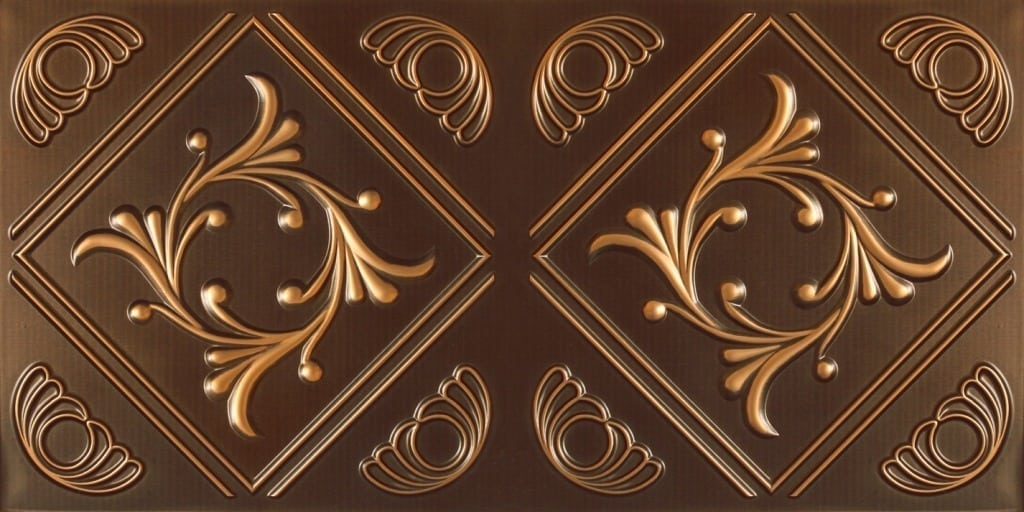 8253 Faux Tin Ceiling Tile - Antique Gold