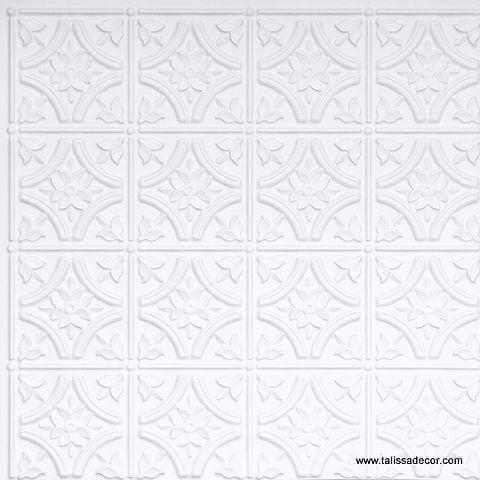 150 White Matte Faux Tin Ceiling Tile