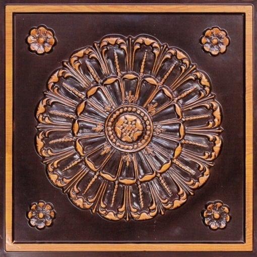 151 Antique Teakwood Faux Tin Ceiling Tile