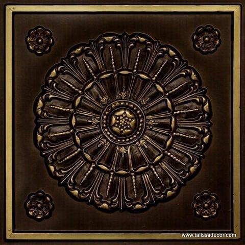 151 Antique Brass Faux Tin Ceiling Tile