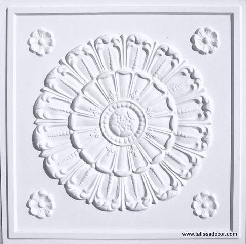 151 White Matte Faux Tin Ceiling Tile