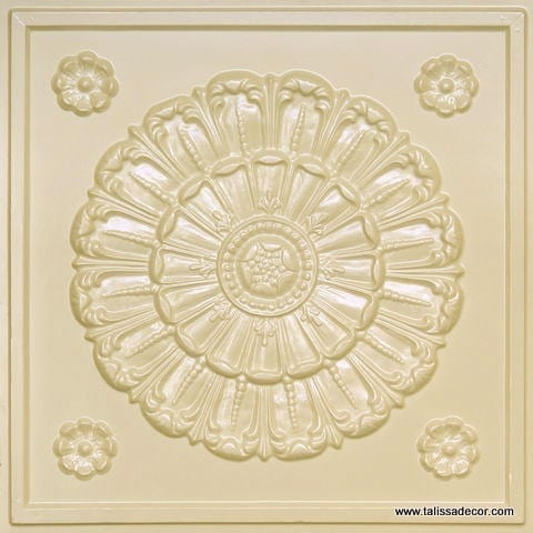 151 Cream Pearl Faux Tin Ceiling Tile
