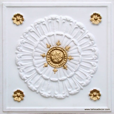 151 White Matte - Gold Faux Tin Ceiling Tile