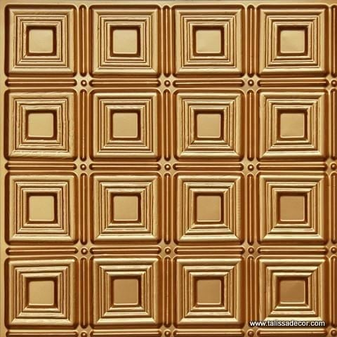 153 Gold Faux Tin Ceiling Tile