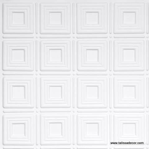 153 White Matte Faux Tin Ceiling Tile