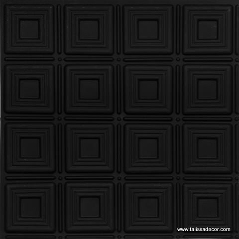 153 Black Matte Faux Tin Ceiling Tile