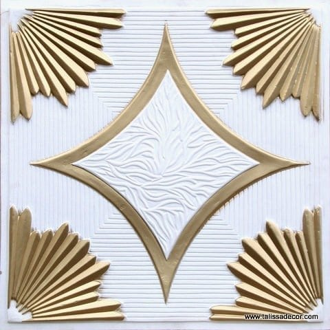 201 White Matte-Gold Faux Tin Ceiling Tile