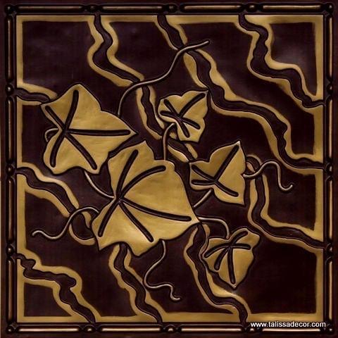 202 Antique Brass Faux Tin Ceiling Tile