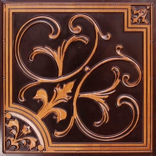 204 Antique Teakwood Faux Tin Ceiling Tile