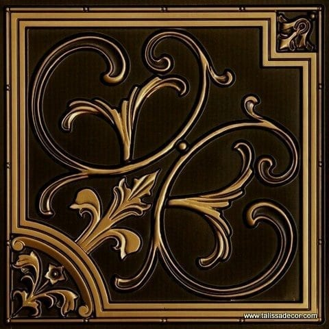 204 Antique Brass Faux Tin Ceiling Tile