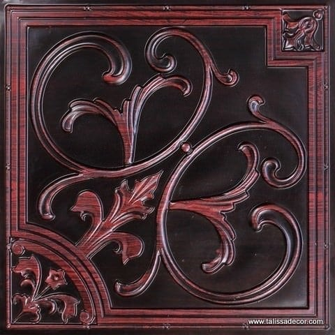 204 Antique Rosewood Faux Tin Ceiling Tile