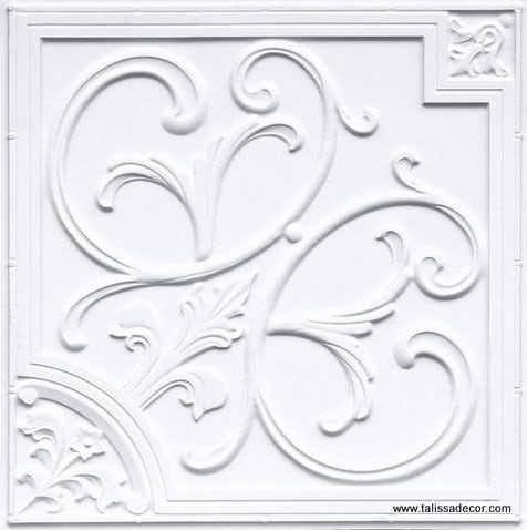 204 White Matte  Faux Tin Ceiling Tile