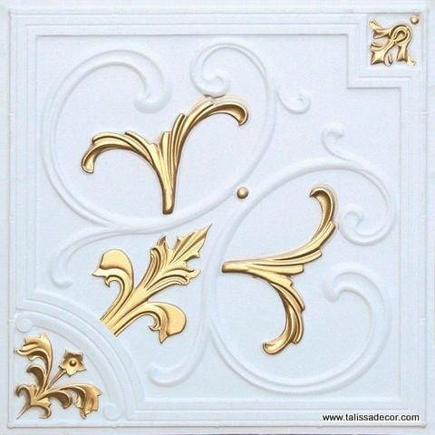 204 White Matte - Gold Faux Tin Ceiling Tile
