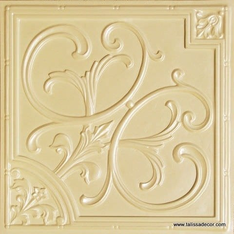 204 Cream Pearl Faux Tin Ceiling Tile