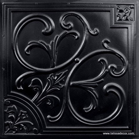 204 Black Glossy Faux Tin Ceiling Tile