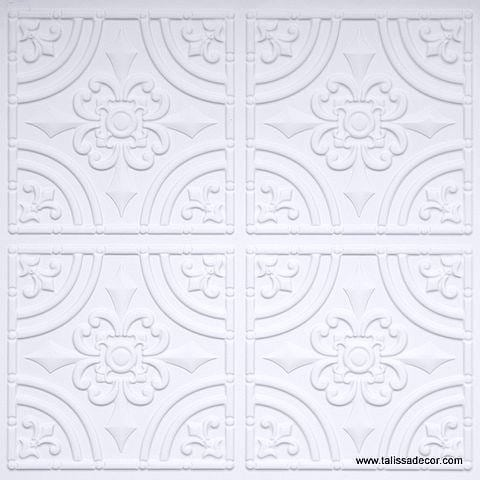 205 White Matte Faux Tin Ceiling Tile