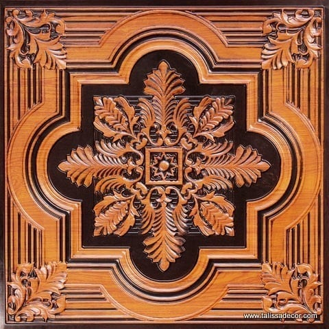 206 Antique Teakwood Faux Tin Ceiling Tile