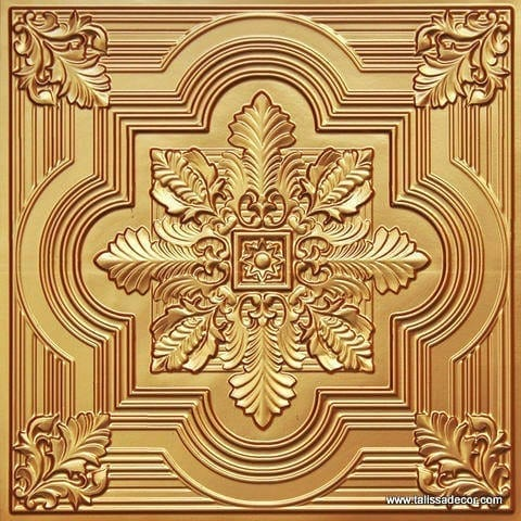 206 Gold Faux Tin Ceiling Tile