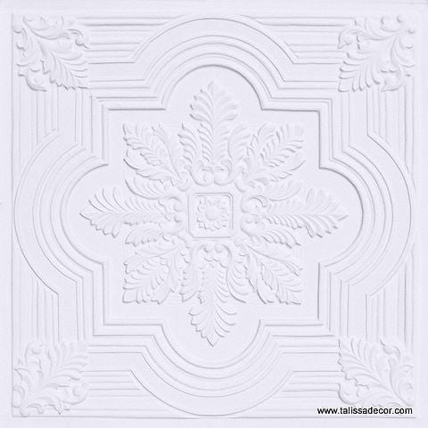 206 White Matte Faux Tin Ceiling Tile