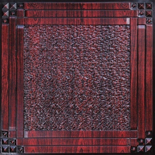 209 Antique Rosewood Faux Tin Ceiling Tile