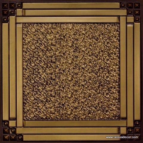 209 Antique Brass Faux Tin Ceiling Tile