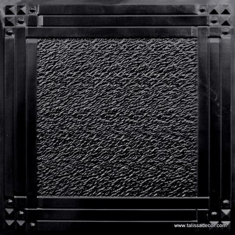 209 Black Glossy Faux Tin Ceiling Tile
