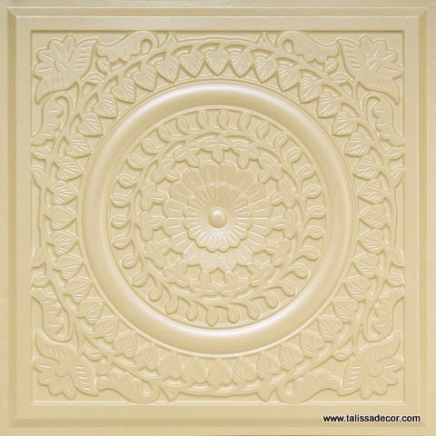 211 Cream Pearl Faux Tin Ceiling Tile