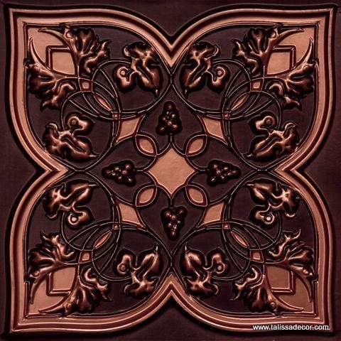 212 Antique Copper Faux Tin Ceiling Tile