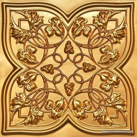 212 Gold Faux Tin Ceiling Tile
