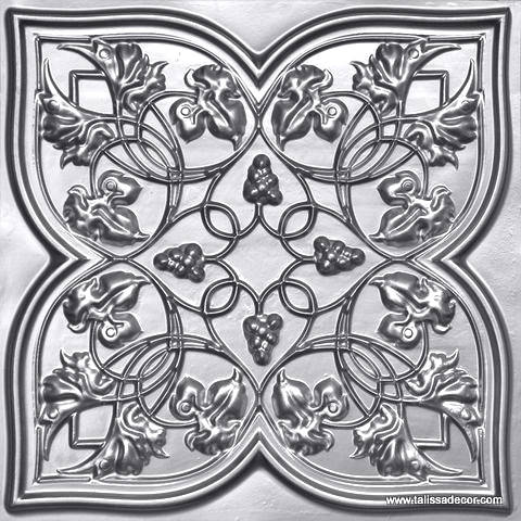 212 Silver Faux Tin Ceiling Tile