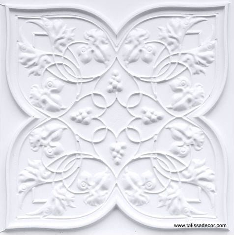 212 White Matte Faux Tin Ceiling Tile
