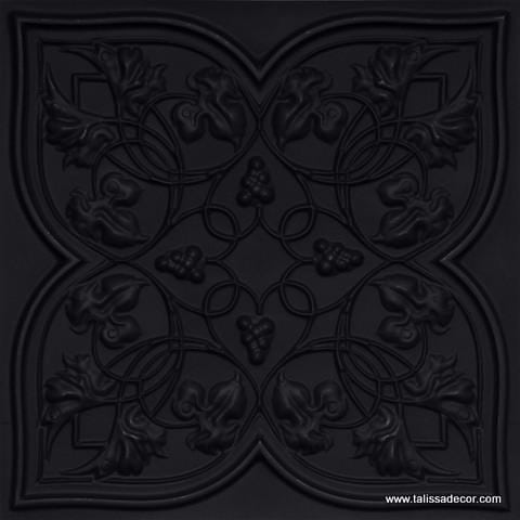 212 Black Matte Faux Tin Ceiling Tile
