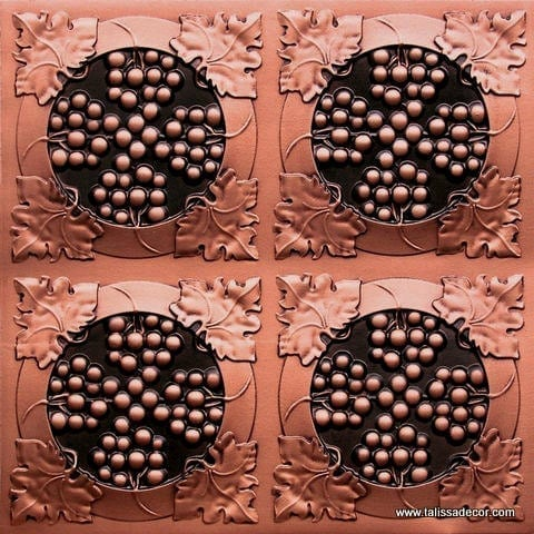 214 Antique Copper Faux Tin Ceiling Tile