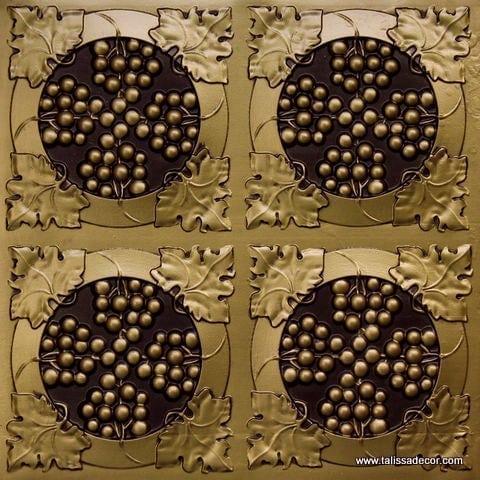 214 Antique Brass Faux Tin Ceiling Tile
