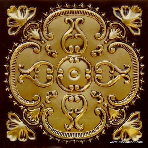 217 Antique Brass Faux Tin Ceiling Tile