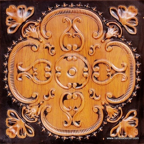 217 Antique Teakwood Faux Tin Ceiling Tile